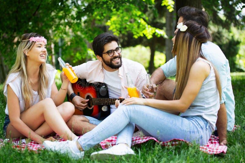 De zomer, vakantie, muziek en recreatietijdconcept De groep vrienden heeft picknick openlucht royalty-vrije stock fotografie