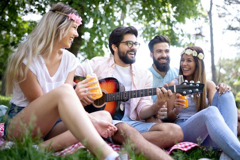 De zomer, vakantie, muziek en recreatietijdconcept De groep vrienden heeft picknick openlucht stock afbeeldingen