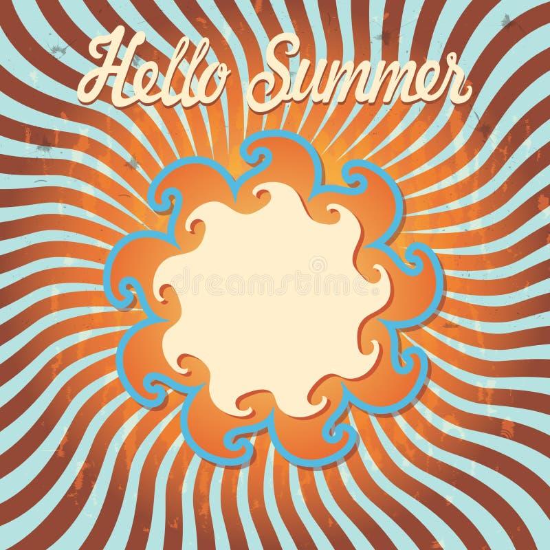 De zomer van Hello van het ontwerpmalplaatje. Retro stock illustratie