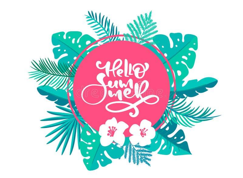 De zomer van teksthello in geometrisch bloemen exotisch bladerenkader Hand getrokken van letters voorziende kalligrafie vectorill stock illustratie
