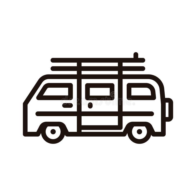 De zomer van vehicle met het pictogram van de brandingsraad Vector dun lijnpictogram voor strand, het surfen, hippie, openluchtav vector illustratie