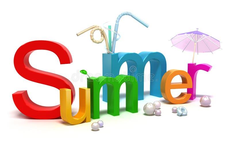 De zomer van Word met kleurrijke brieven stock illustratie