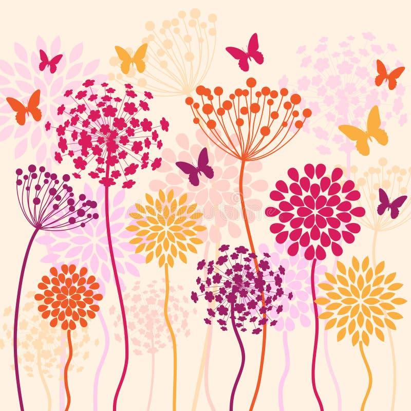 De zomer vectorachtergrond met bloemen en vlinders royalty-vrije illustratie