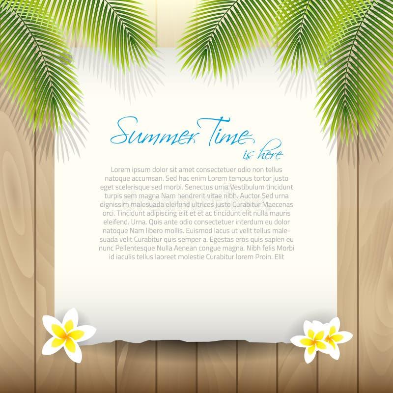 De zomer Vectorachtergrond met Document onder Palm tre stock fotografie