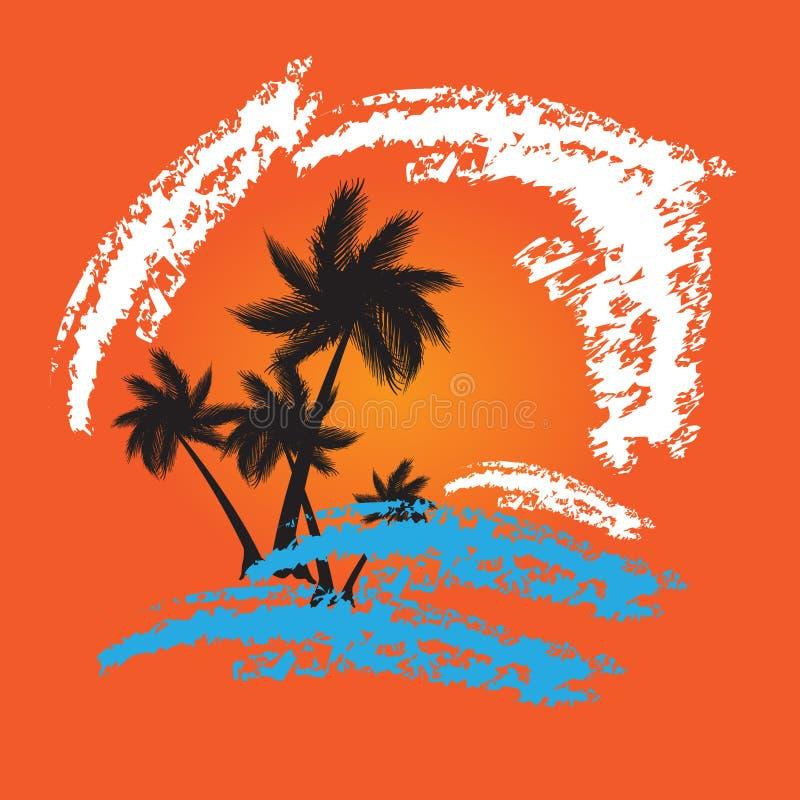 De zomer vectorachtergrond van Grunge met palmen royalty-vrije illustratie