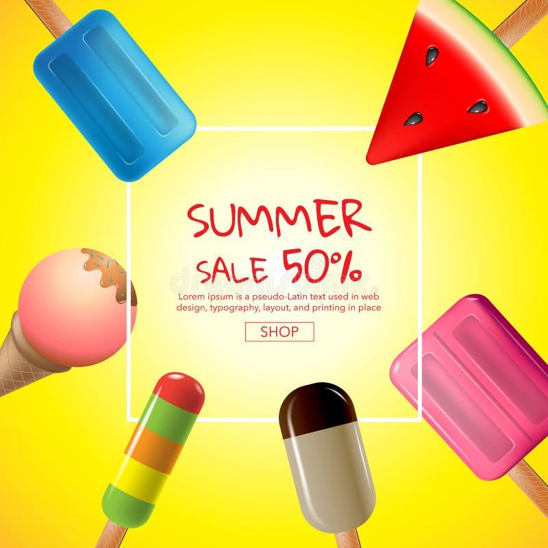De zomer, verkoop, malplaatjeontwerp, vectorillustratie royalty-vrije illustratie