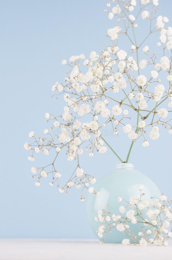 De zomer verse achtergrond met luchtige bloemen in vaas in lichtblauw verticaal pastelkleurbinnenland, stock fotografie