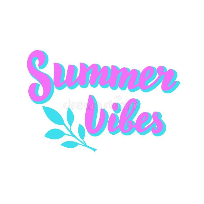 De zomer vibes in affiche Vakantie, het ontwerp van de de zomertekst van de strandpartij Het moderne van letters voorzien stock illustratie
