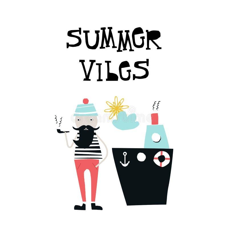 De zomer vibes - jonge geitjesaffiche met leuke kapitein die een pijp roken dichtbij het schip Verwijderd van document illustrati vector illustratie