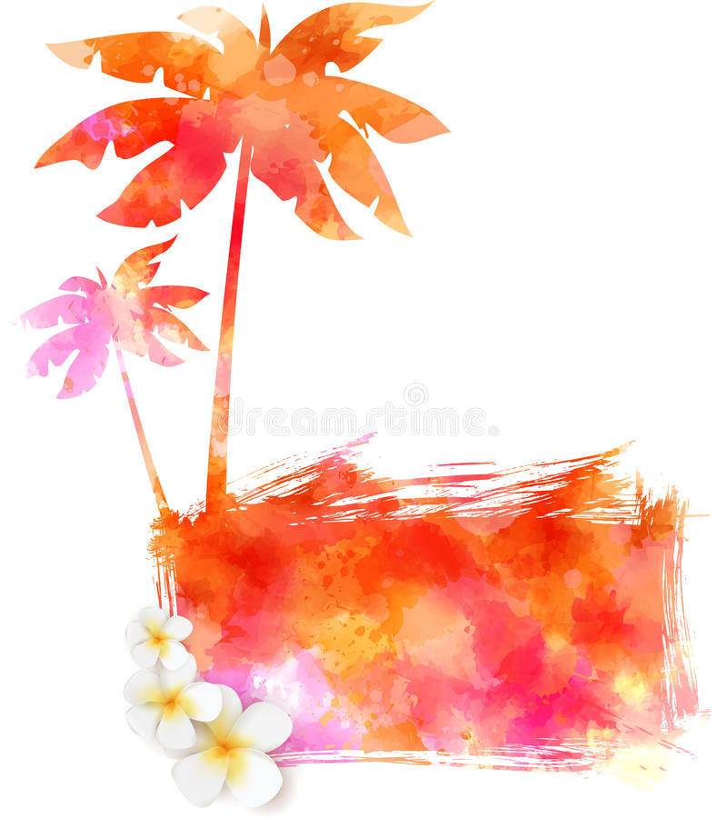 De zomer watercolored achtergrond stock illustratie