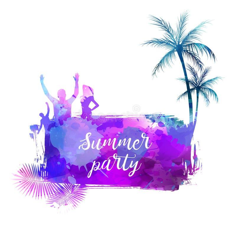 De zomer watercolored achtergrond royalty-vrije illustratie