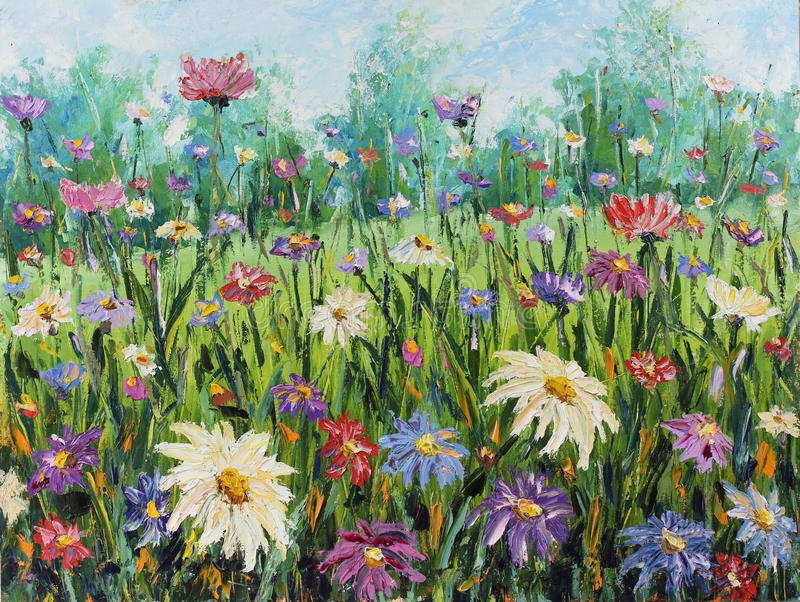 De zomer wilde bloemen, olieverfschilderij stock illustratie