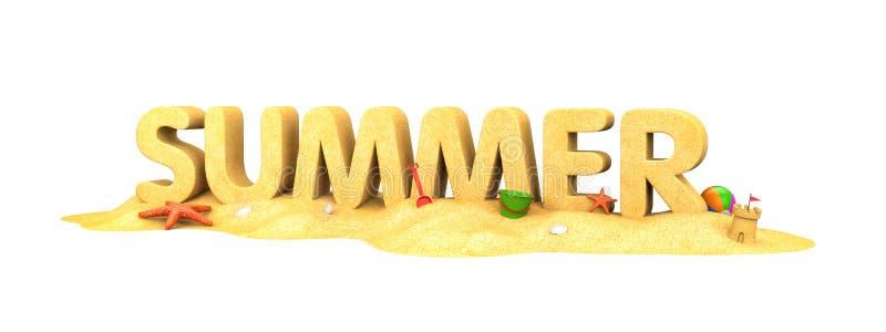 De zomer - woord van zand stock illustratie