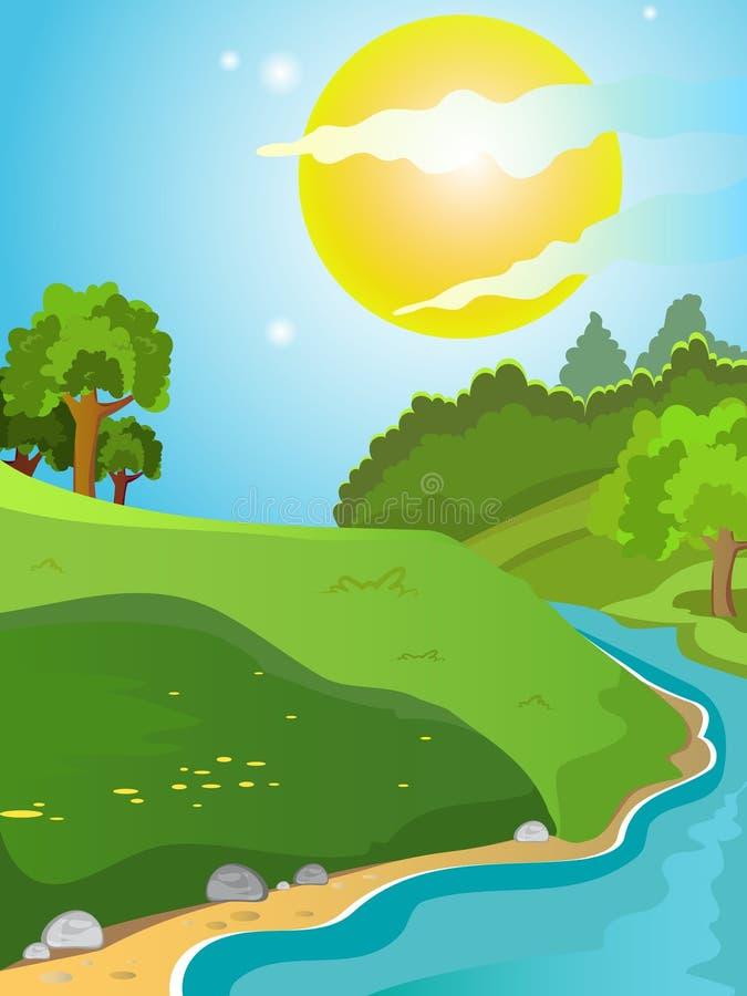 De zomer, zonnig landschap stock illustratie