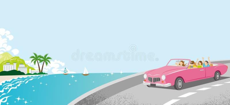 De zomeraandrijving - Roze Convertibel, Kustlijnweg stock illustratie