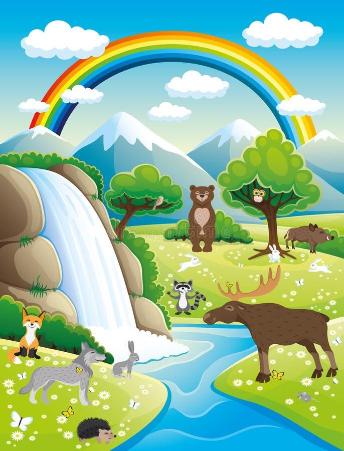De zomeraard en leuke dieren royalty-vrije illustratie