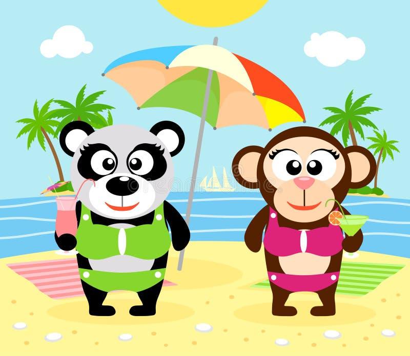 De zomerachtergrond met aap en panda royalty-vrije illustratie