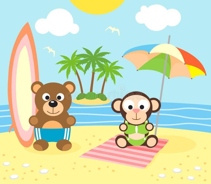 De zomerachtergrond met beer en aap op beac royalty-vrije illustratie