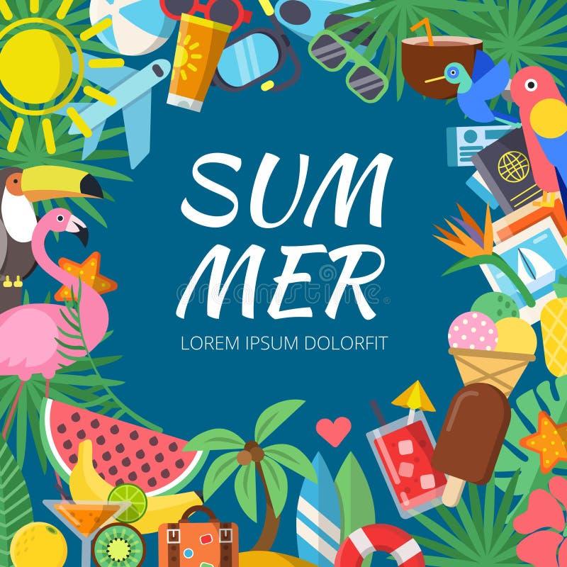 De zomerachtergrond met diverse reisbeelden en tropische bloemen stock illustratie