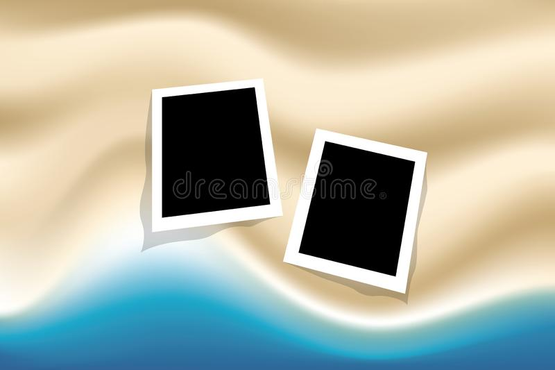 De zomerachtergrond met fotokader op hoogste meningsoverzees en strand royalty-vrije illustratie