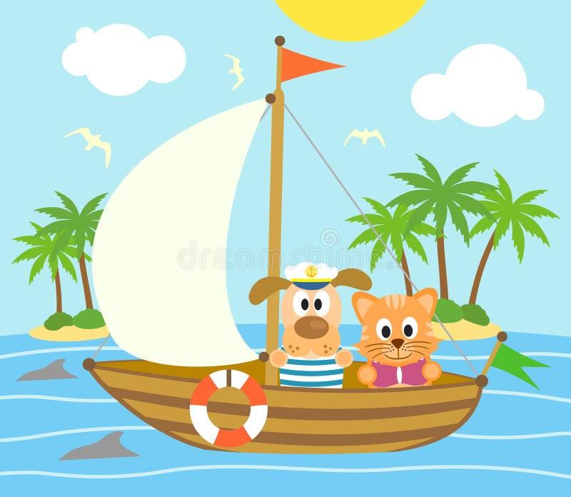 De zomerachtergrond met hond en kat op een boot royalty-vrije illustratie