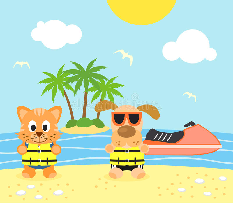 De zomerachtergrond met hond en kat op het strand vector illustratie