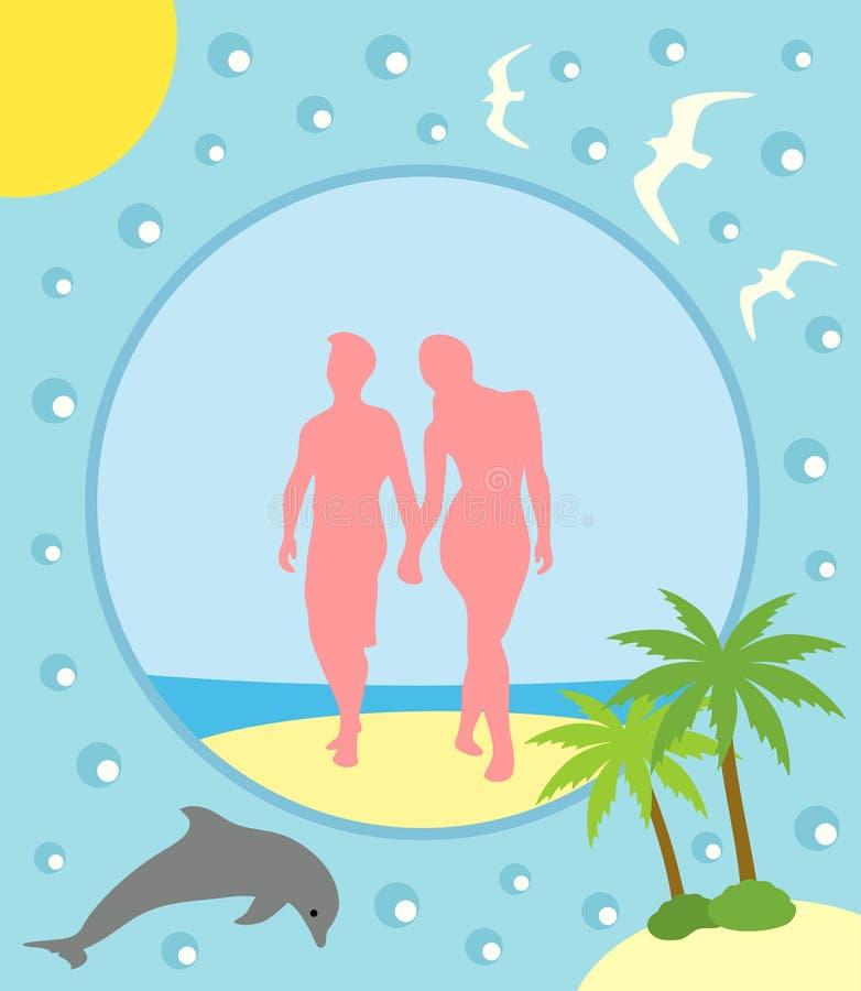 De zomerachtergrond met jongen en meisje stock illustratie
