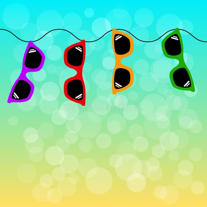De zomerachtergrond met kleurrijke zonnebril Vector royalty-vrije illustratie