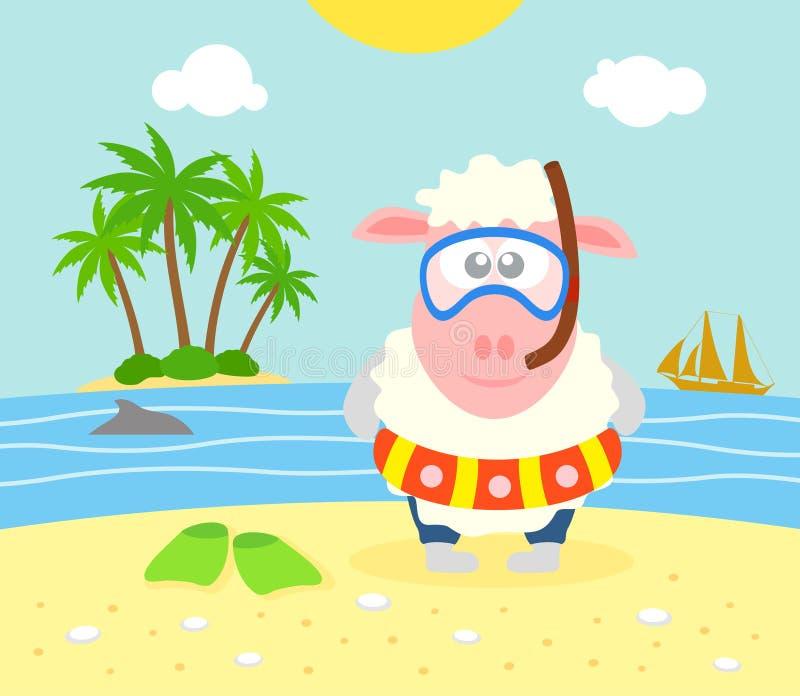 De zomerachtergrond met schapen vector illustratie