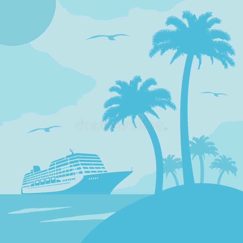 De zomerachtergrond met schip stock illustratie