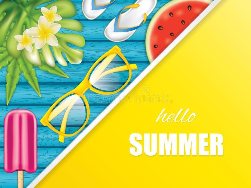 De zomerachtergrond met Zonnebril royalty-vrije illustratie