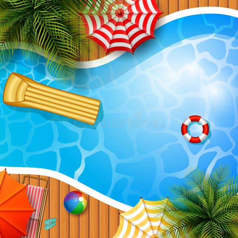 De zomerachtergrond met zwembad, paraplu, matras en opblaasbare ring vector illustratie
