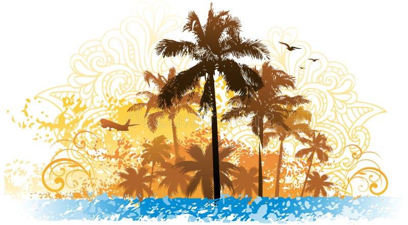 De zomerachtergrond van de palm stock illustratie
