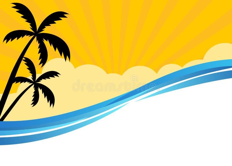 De zomerbanner met tropische strandscène royalty-vrije illustratie