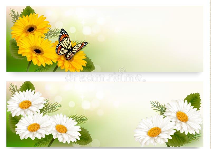De zomerbanners met kleurrijke bloemen en vlinder stock illustratie