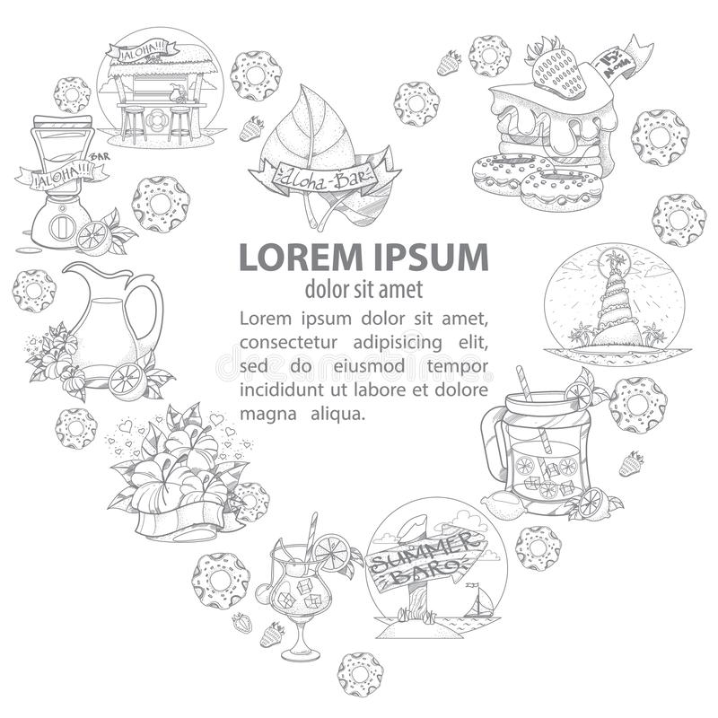 De zomerbar Het malplaatje voor affiches, boekjes, met een kader in de vorm van een hart van de zomer heeft, snoepjes, dranken be vector illustratie