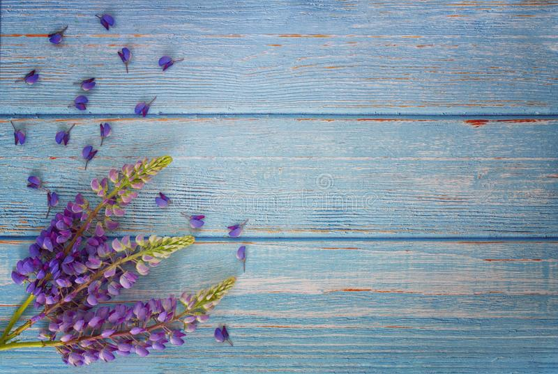 De zomerbloemen van purpere lupine op de raad van de keukenlijst stock foto