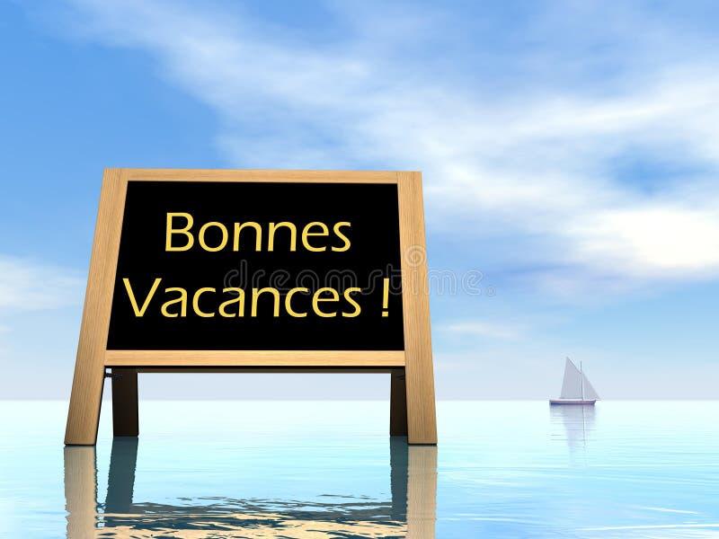 De zomerbord die gelukkige vakantie in het Frans wensen royalty-vrije illustratie