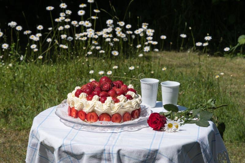 De zomercake met aardbeien in een tuin stock foto's