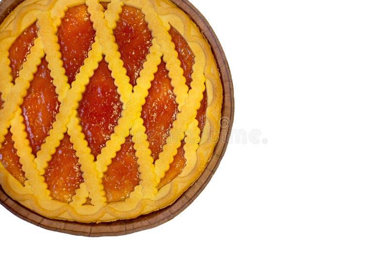 De zomercakes Perzik, appeltaartkorst en galette met abrikozenjam royalty-vrije stock foto