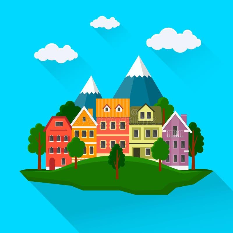 De zomercityscape, stedelijk landschap stock illustratie