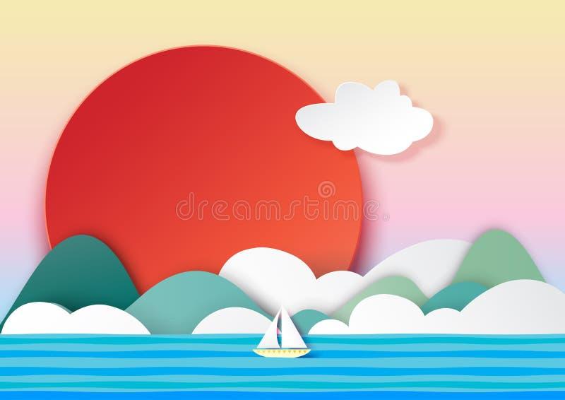 De zomerconcept met zeilboot, bergenzon, wolken en hemeldocument kunststijl royalty-vrije illustratie