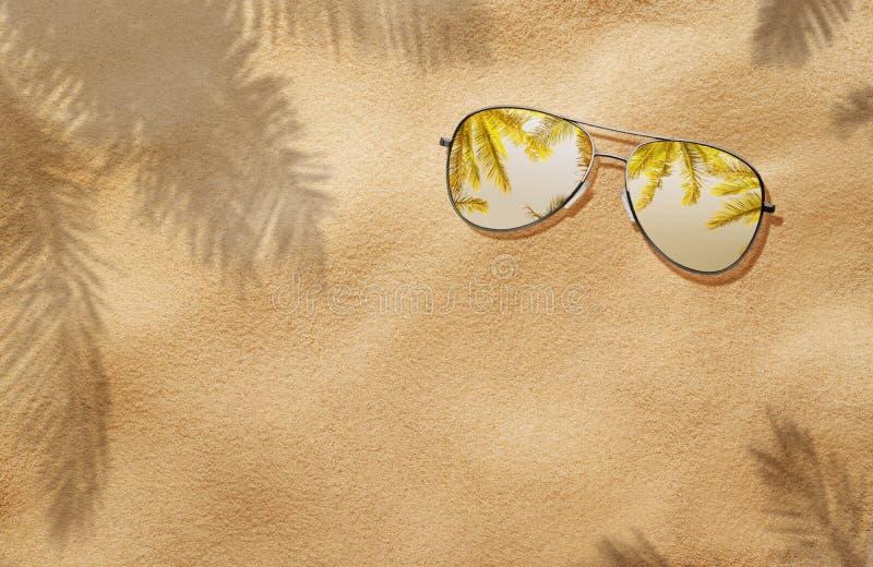 De zomerconcept, zonnebril in het zand royalty-vrije stock foto