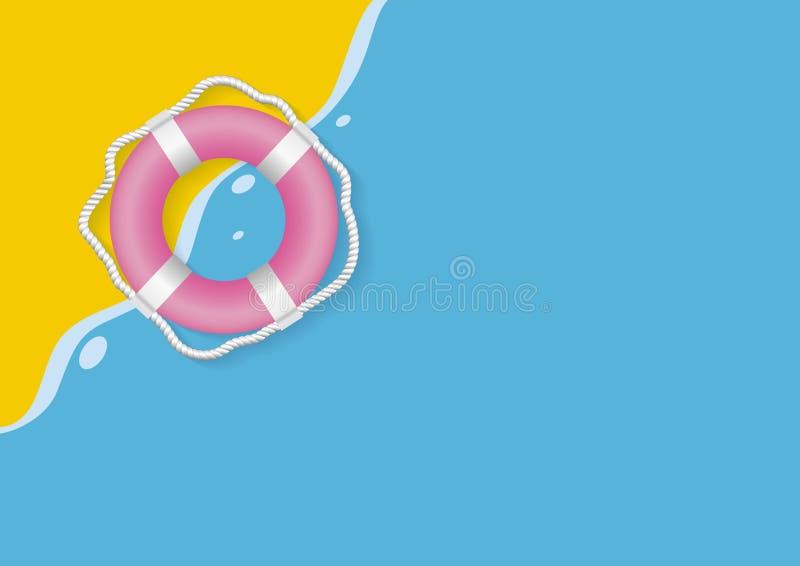 De zomerconceptontwerp van reddingsgordel op gele en blauwe achtergrond royalty-vrije illustratie