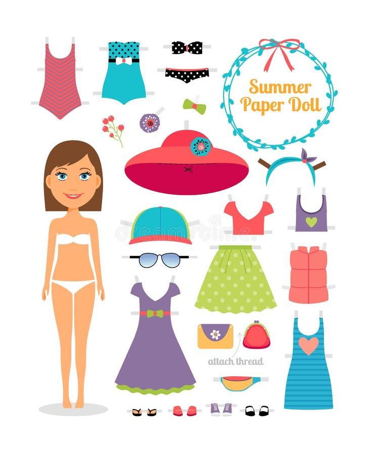 De zomerdocument pop Meisje met kleding en hoed stock illustratie