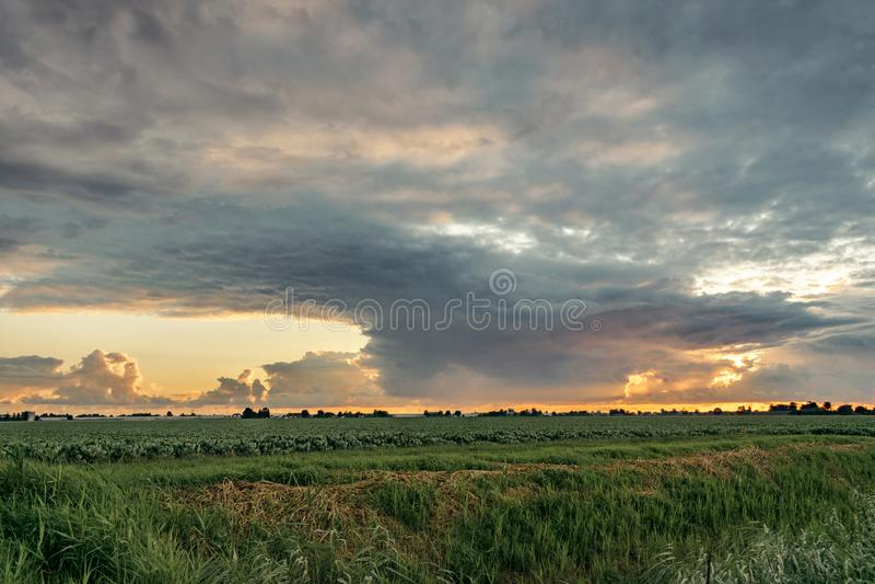 De zomerdouche met mammatuswolken in Nederland bij zonsondergang royalty-vrije stock afbeeldingen