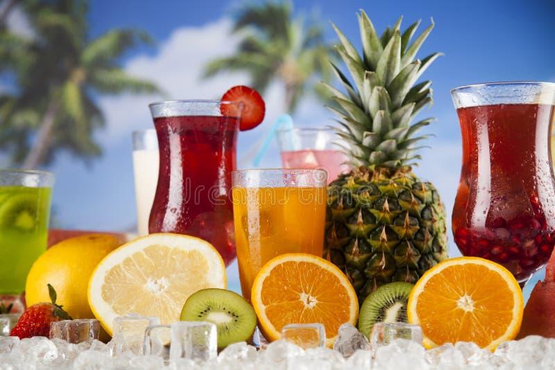 De zomerdrank, palmtak en Verse tropische vruchten royalty-vrije stock afbeeldingen