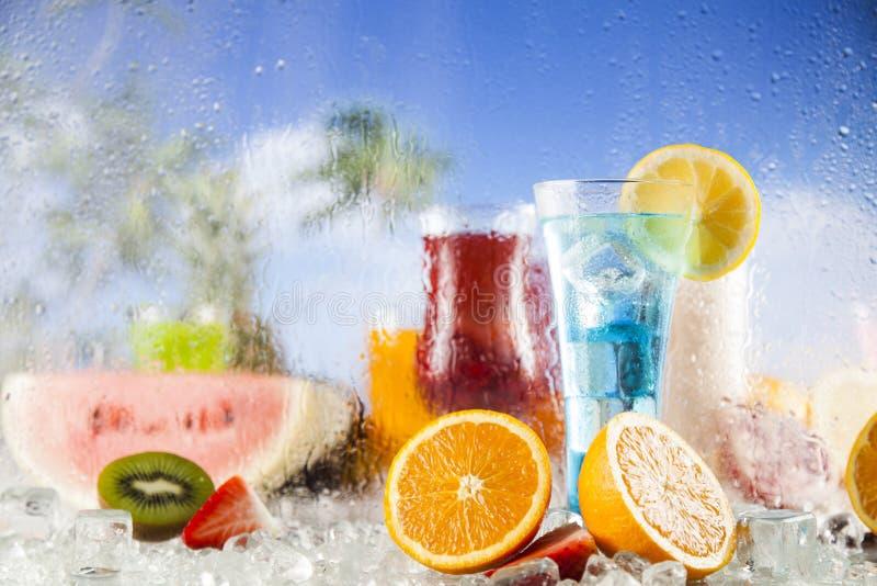 De zomerdrank, palmtak en Verse tropische vruchten royalty-vrije stock foto's