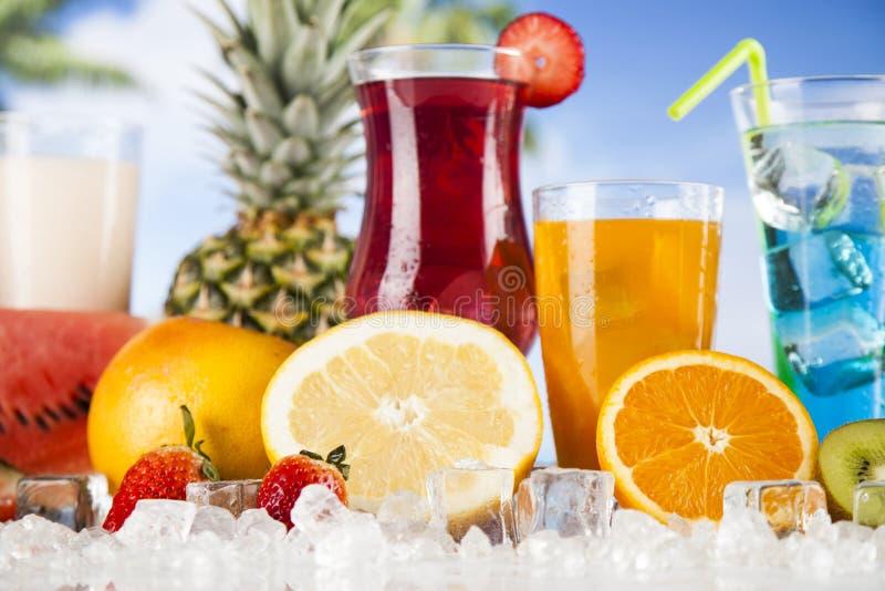 De zomerdrank, palmtak en Verse tropische vruchten stock foto's