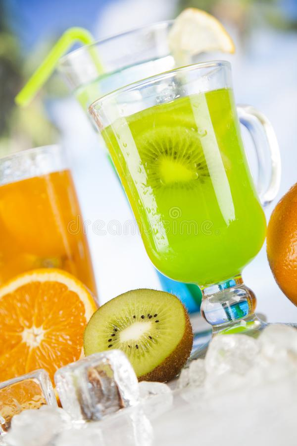 De zomerdrank, palmtak en Verse tropische vruchten royalty-vrije stock afbeelding